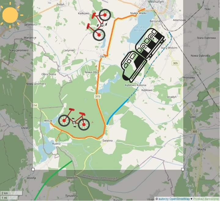 """Mapka """"wielkopolskiej"""" trasy rowerowej do Wolsztyna"""
